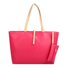 YBC Women PU Leather Shoulder Bag Tote Bag Handbag Rose Red