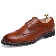 YINGLUNQISHI Men Bullock Wingtip Leather Dress Shoes BOSS Selection J610 (Brown)