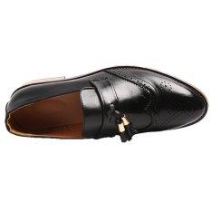 YINGLUNQISHI Men's Bullock Wingtip Leather Dress Shoes (Black) JC-005