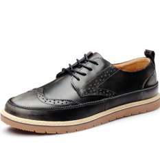 YINGLUNQISHI Men's Casual Leather Shoes British Style Vogue Breathable Leather Shoes (Black) (Intl)