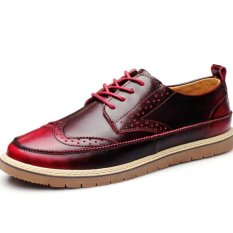 YINGLUNQISHI Men's Casual Leather Shoes British Style Vogue Breathable Leather Shoes (Red) - Intl