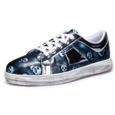 YINGLUNQISHI Men's Classic Pu Leather Board Shoes Skull Sneakers J38 (Blue) (Intl)