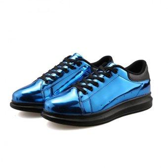 YINGLUNQISHI Men's Fashion Casual Lace Up Leather Shoes (Blue)