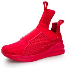 YINGLUNQISHI Men's Fashion Mesh Breathable High Cut Sporty Sneakers (Red) JC297 - Intl