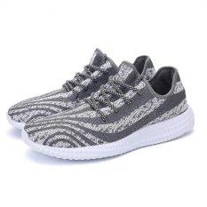 YINGLUNQISHI Men's Fashion Yeezy Mesh Sporty Sneakers (Gray&White) JC187