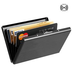 Yixiangqing High-Grade stainless steel men credit card holder women metal bank card case card box rfid card wallet 007Black2 - intl