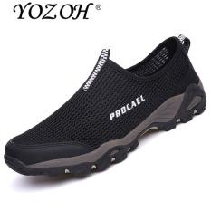 YOZOH Sepatu Olahraga Pria Sepatu Outdoor Hiking Sepatu Casual Running Slip-Ons & Loafers-Black - intl
