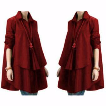 Yuki Fashion Blouse Hiraku - Maroon