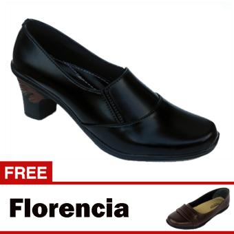 Yutaka Sepatu Kerja Vrant Trand - Hitam + Gratis Florencia Sepatu Casual - Cokelat