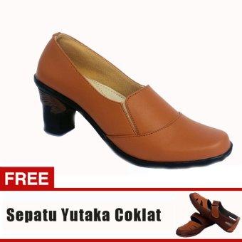 Yutaka Sepatu Wanita Booats02 Tan + Gratis Sepatu Sp30 Tan