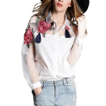 ZANZEA 2016 Blusas vintage lengan baju panjang wanita musim semi bordir bermotif bunga blus atasan wanita