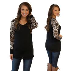 ZANZEA Fashion Sexy Ladies Leopard Chiffon Top Blouse Long Sleeve Casual T-shirt Black (Intl)