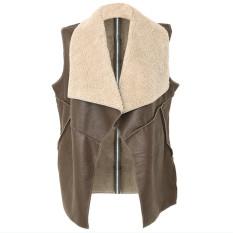 ZANZEA Long Loose Women Leather Outerwear Waistcoats Faux Leather Jackets (Intl)