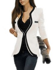 Zanzea OL Stylish Womens Lapel Tops Coat Slim Blazer One Button Jacket Suit White - Intl