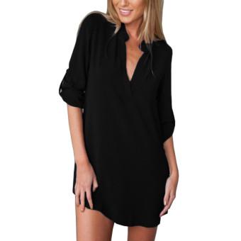 186c1b424cb5 ZANZEA Plus Size Women V-neck Long Sleeve Chiffon Tops Loose Blouse T-shirt