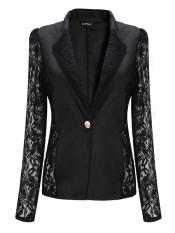 Zanzea Women Lace Crochet Splicing One Button Suit Blazer Coat Black