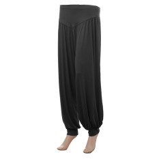 ZANZEA Women Harem Yoga Pant Belly Dance Comfy Loose Boho Wide Club Trousers (Black)