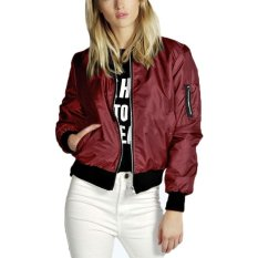 ZANZEA Womens Classic Padded Bomber Jacket Ladies Vintage Zip Up Biker Coat - Intl