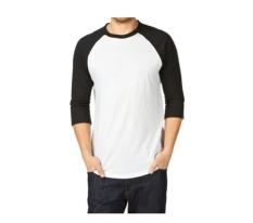 Zero One Store T-Shirt Raglan 3/4, Putih Hitam