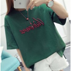 ZH Shopping Female Korean Version Of The Loose Letter Embroidered Short-sleeved T-shirt Green - Intl