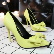 ZH Shopping Ms bowknot is fine with shallow mouth pointed high-heeled shoes Yellow - intl