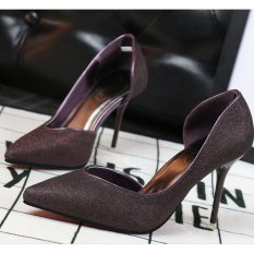 ZH Shopping Ms. Sexy stilettos shallow mouth pointed high-heeled shoes Burgundy - intl