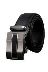 ZigZagZong Fashion Genuine Mens Leather Busines Alloy Simple Automatic Buckle Waist Belt (Black) - Intl