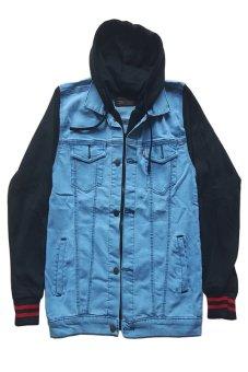 Zims Jaket Denim Hoodie Boy Kombinasi Fleece - Biru Muda