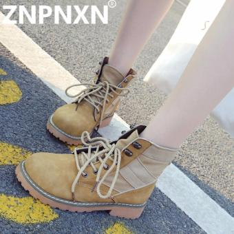 ZNPNXN Fashion Autumn And Winter New Martin Boots Leather Boots With Wearable Women Boots (Yellow) - intl