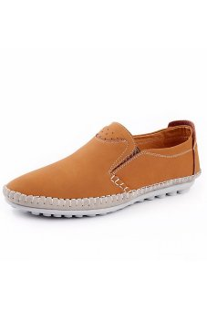ZNPNXN Leather Men Flat Shoes Casual Loafers (Yellow)