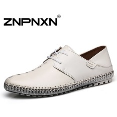 ZNPNXN Men's Casual Shoes Lace Low Cut Thick Crust Shoes (White)