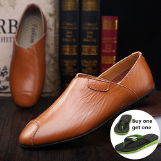 ZNPNXN Men's Fashion Formal Shoes / Low Cut Shoes Upper Materials Leather Shoes (Brown)