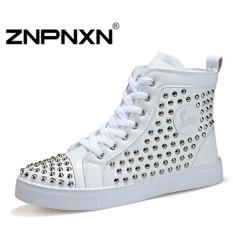 ZNPNXN Men's Fashion Large Size Rivet Casual Shoes High To Help(White)