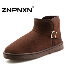 ZNPNXN Men's Fashion Winter Round Short Tube Martin Boots Plus Velvet(Brown)
