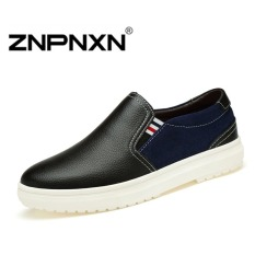 ZNPNXN Men's Flat Slip-On Casual Shoes (Black)