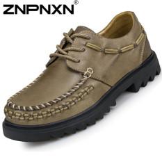 ZNPNXN Men's Middle-aged Fashion Formal Shoes & Low Cut Shoes Leather Shoes (Khaki)