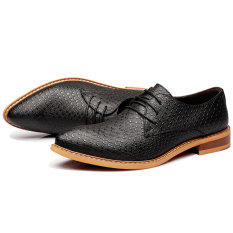 ZNPNXN Synthethic Leather Men Flat Shoes Casual Brogues & Lace-Ups (Black) (Intl)