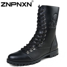 ZNPNXN Women's FashionCasual Men 's Boots Male British Martin Boots High To Help Add Cashmere Department Of Warm Knight Boots (Black)
