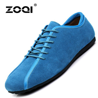ZOQI man's Slip-Ons&Loafers fashion cow suede leather Shoes(Lake Blue) - intl
