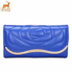 Zrong Europe Style Fashion Women PU Leather Clutch Bag Floral Pattern Long Wallet Card Holder (Blue) - Intl
