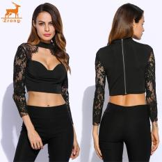 Zrong New Fashion Women Sexy Stand Collar Lace Patchwork Hollow Out Bustier Crop Top (Black) - Intl