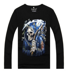 ZUNCLE Men's Fashion 3D Printed Long-sleeved Cotton T-shirt, Metal Rock Punk (LCE90) (Intl)