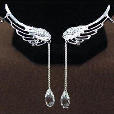 1 buah sayap malaikat peri telinga menjepitkan anting-anting rantai kristal (Perak)