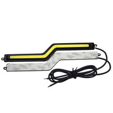 1 Pair 2pcs 12V Voltage Super Bright Car COB LED Strip Lights DRL Fog Driving Lamp Water- Resistant IP65 White