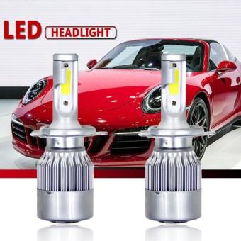 1 Pair H4 C6 COB LED Headlight Kit 3800LM/Bulb 6000K Beam Car Lamp Bulb HID White Style:H4 - intl