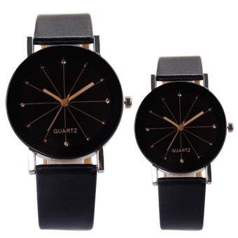 1 Pair Men Women Casual Business Wrist Watch Wristwatch for Couple Lover with PU Leather Band