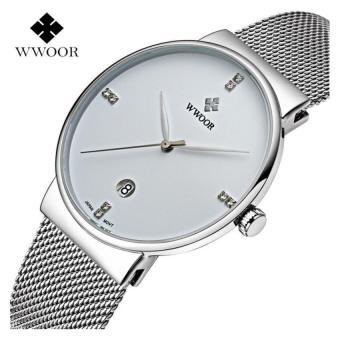 100% Authentic)WWOOR Men Watches Luxury Ultra Thin 50M Waterproof Casual Sports Watch 8018(White) - intl