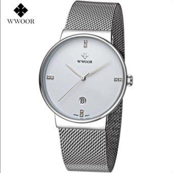 [100% Genuine] 2017 New WWOOR 8018 Mens Watches Ultra Thin Date Clock Male Waterproof Sports Quartz Men Watch Casual Wristwatch White - intl