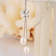 100% Genuine Pearl Necklace Pearl Jewelry Natural Freshwater Pearl Butterfly Pendants 925 Sterling Silver Jewelry For Women Gift - Intl