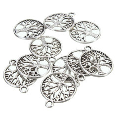 10Pcs Tibetan Silver 'Tree Of Life Circle' Charms Pendants For Jewelry Findings - Intl